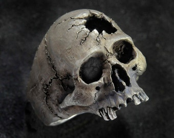 Skull Ring,Hammer Hole, Half Jaw skull,Skull Ring, Jack Sparrow,Biker ring, Rocker ring, Goth ring, Sterling Silver Skull Ring,.925