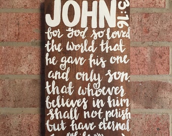 John 3:16 for God so loved the world bible verse on wood