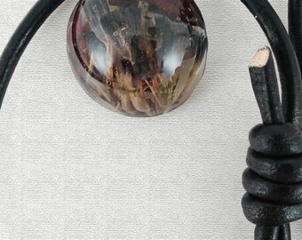 Black Adjustable Leather Necklace with Handmade Resin Pendant
