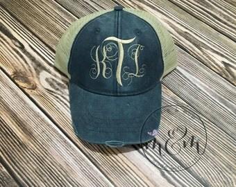 Distressed Trucker Hat | Monogrammed Hat | Personalized Baseball Cap
