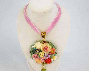 Flower Bouquet Pendant on Crushed Velevt Ribbon