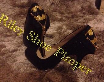 Custom made glitter Batman heels