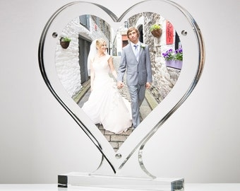 Acrylic Magnetic Heart Shape Perspex Picture Frame | Premium acrylic | Made in the UK
