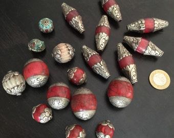 SALE - Assortment of vintage Tibet beads Tibetan jewelry