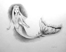 Made to order Fairytale art Original custom sketch Fantasy drawing pencil Little princess Mermaid artwork Nursery decor Gift for niece girl