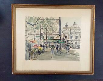 Vintage Herbelot Paris Scene Watercolor Print; Signed Herbelot Print; Vintage Herbelot; Paris Street Scene; Vintage Wall art