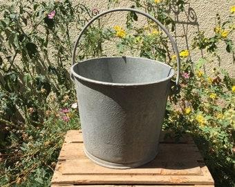 Metal Bucket; Cinti US Galvanized Metal Bucket; Vintage Galvanized Bucket; Galvanized Planters; Industrial Bucket; Garden Decor