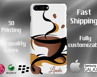 Coffee iPhone 7 Plus Case, Coffee Phone Case,Latte iPhone Case, Hot Coffee iPhone 7 case, Shalom iPhone cell case, Hebrew Cell Phone case