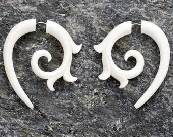 White Bone Kalila Curl Spirals Fake Gauges Earrings