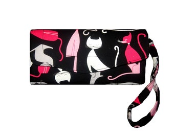 Pink Kitty retro pin-up clutch wallet