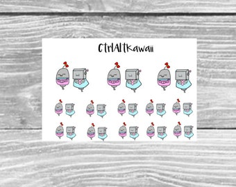 Bonnie and Clyde Kawaii Robot Planner Stickers