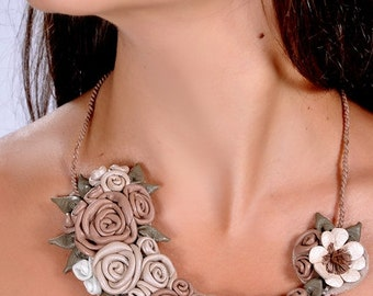 Flower Necklace asymmetric shape for Fine Lady