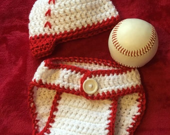 Baby Baseball Set, Crochet Baseball Hat and Diaper Cover, Newborn to 12 months size, Crochet Photography Prop