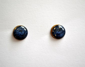 Blue and golden stud earrings