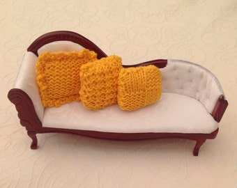 1:12 Hand Knitted Set of 3 Gold colour Doll House Cushions