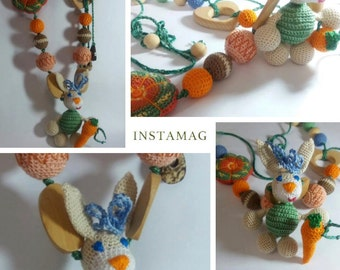 Crochet organic cotton Nursing necklace romantic teething necklace .