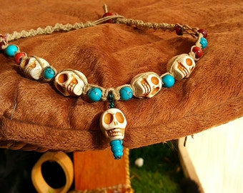 Hemp Day of the Dead Necklace with Turquoise Skulls