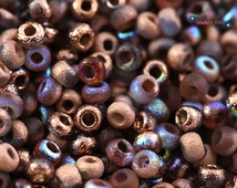 Czech Round Seed Beads 6/0 - Etched Crystal Copper Rainbow (Ref.#CZMTB-6-00030-98583) 6/0 Beads seed 6 size bulk knitting crochet
