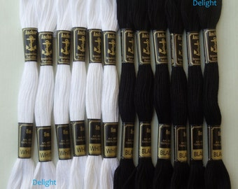 Beautiful 12 Black & White Anchor Cross / Long Stitch Cotton Embroidery Thread skeins / Floss