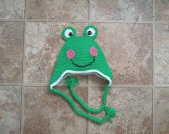 Crochet frog hat green frog hat