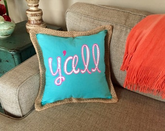 """Canvas and Jute """"Y'all"""" Pillow"""