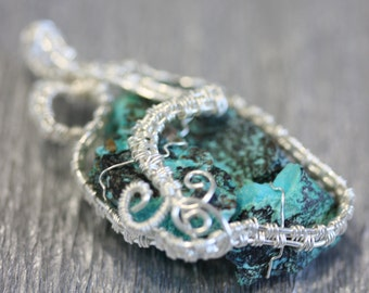 Turquoise with Chrysocolla pendant - wire wrapped raw crystal necklace - silver