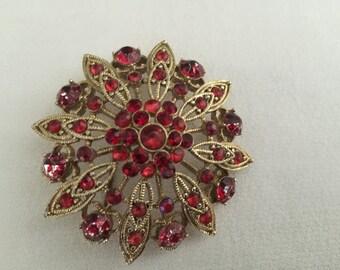 Vintage 1970's Red Rhinestone Brooch