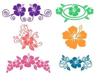 Hibiscus flowers Hawaii Frames Svg Designs monogram Pack