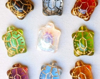 Large Glass Turtle Bead with Gold Inlay - Czech Glass Beads - 19mm x 14mm - Various Colors - Qty 4