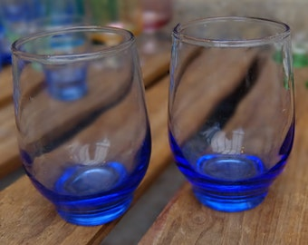 French Vintage Blue Glass Tumblers (Set of 2)