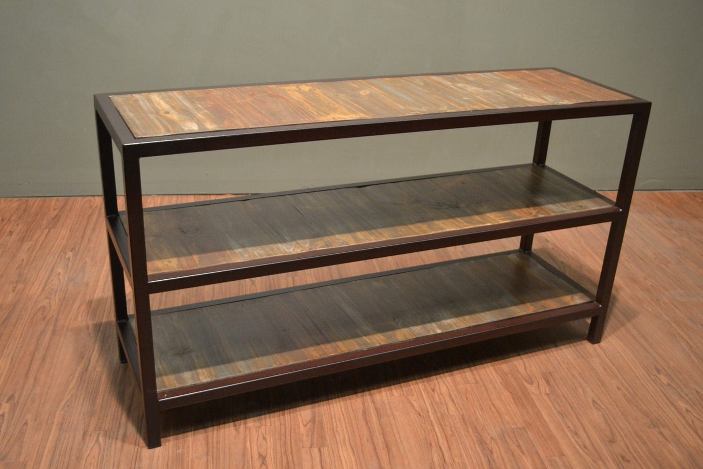 Industrial wood and metal three shelf console table rustic for Metal and wood console tables