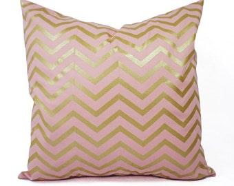 Metallic Blush Pillow Cover, Glitz, Gold dot, Chevron