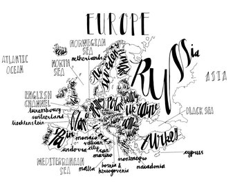 Hand Drawn Typography Map of Europe