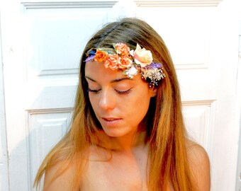 Orange,roses,flower,headpiece,headband,flower,crown,half,orange,lavender,bridal,wedding,elegance,boho,chic,purple,adjustable,flower comb