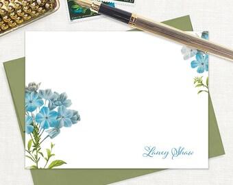 personalized flat note cards - FORGET ME NOTS - set of 12 cards - floral stationery - flower stationary - botanical - color envelopes