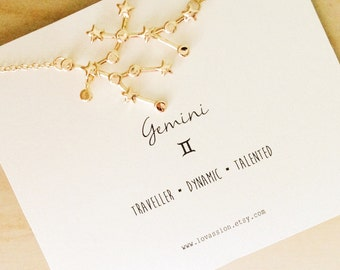 Gemini Necklace, gemini constellation necklace, gold Gemini necklace, constellation necklace, star sign necklace, star sign necklace, 14k