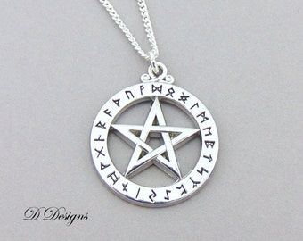 Pentagram Necklace, Sterling Silver Charm Necklace, Pagan Necklace, Pentagram Pendent, Silver Necklace