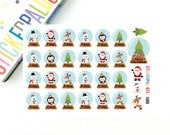 Christmas Countdown Planner Stickers, Snow globe, December Planner Stickers, Holiday Countdown