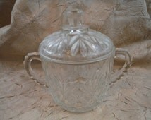 1960's Pineapple Glass Sugar Bowl - Antique, Retro, Vintage, Decorum, Usable