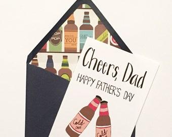 Happy Father's Day Card, Father's Day Card, Father's Day Beer Card, Happy Father's Day, Beer Fathers Day Card - Blank Inside