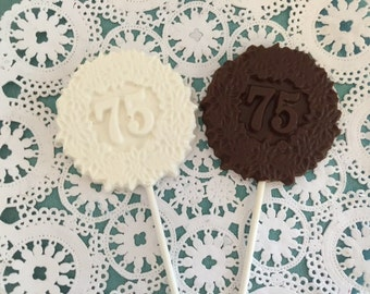 "Number ""75"" Chocolate Lollipops(12 qty) - 75th Birthday Party - 75th Anniversary Party- 75th Celebration - Number 75 Party Favor"