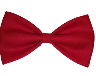 Dog Bow Tie - Solid Bow Tie - Bow Tie For Dog - Red Dog Bow Tie - Handmade Dog Bow Tie