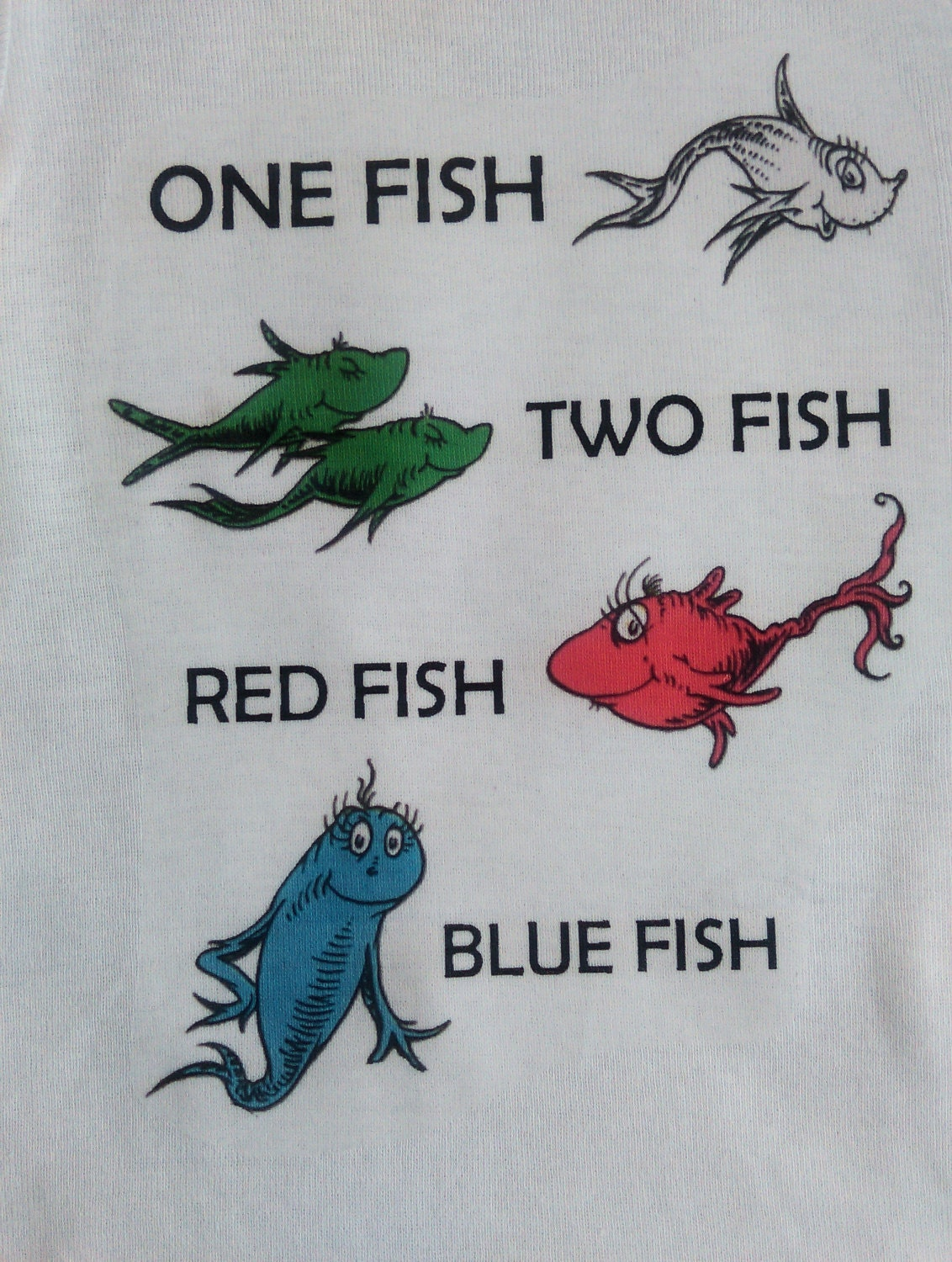 One fish two fish red fish blue fish dr seuss inspired white for One fish two fish red fish blue fish costume