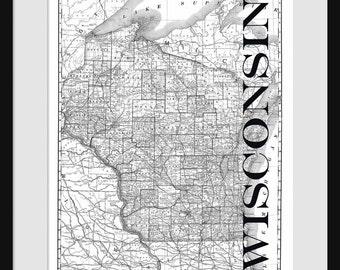 Wisconsin Map - Map of Wisconsin - Poster - Print