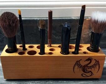 Engraved Wood Make Up Brush Holder