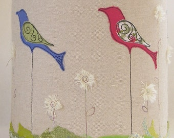 Handmade embroidered linen lampshade bird lampshade drum