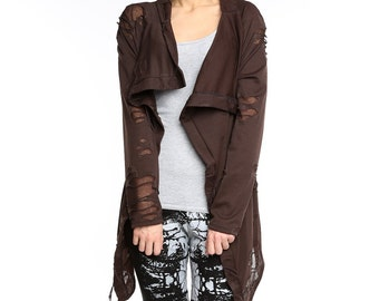 Brown cardigan, Brown steampunk torn cardigan, brown cowl cardigan, asymmetrical cardigan, textured lycra cardigan, cowl jumper  ANDADA 002