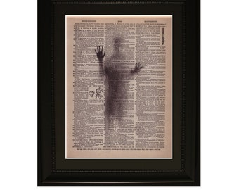 """Shadows"""" - Dictionary Art Print. Vintage Upcycled Antique Book Page. Fits 8""""x10"""" frame"""