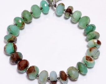 Surtidos de abalorios 2 Strand Natural Bio Chrysoprase Faceted Pear Drop Beads Briolettes 16mmx10mm-20mmx15mm 8.5 Inch