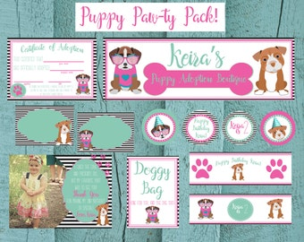 Puppy Party Pack of Printables | Custom Design for your puppy party! | Birthday Party | Custom colors and dog breeds | Puppy Paw-ty